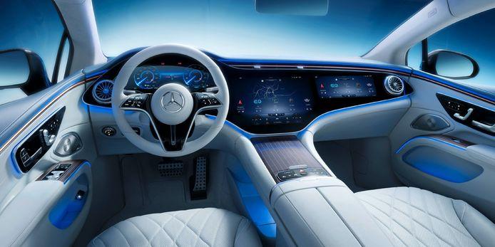 Het dashboard van de elektrische Mercedes-Benz EQS.