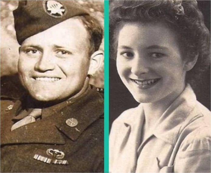 Thomas Norwood (links) en Joyce Morris (rechts) tijdens de Tweede Wereldoorlog.