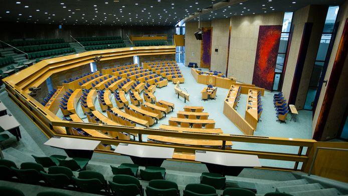 Een lege plenaire zaal in Den Haag