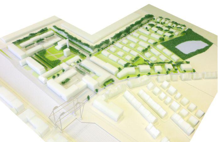 Een maquette van hoe de wijk er zal uitzien.
