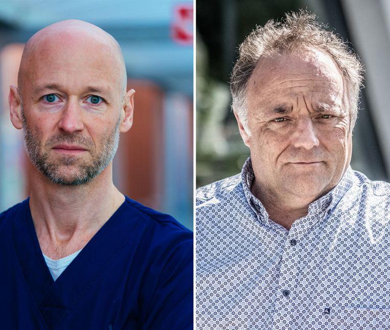 Geert Meyfroidt en Marc Van Ranst. Beeld UZ Leuven/Bart Leye