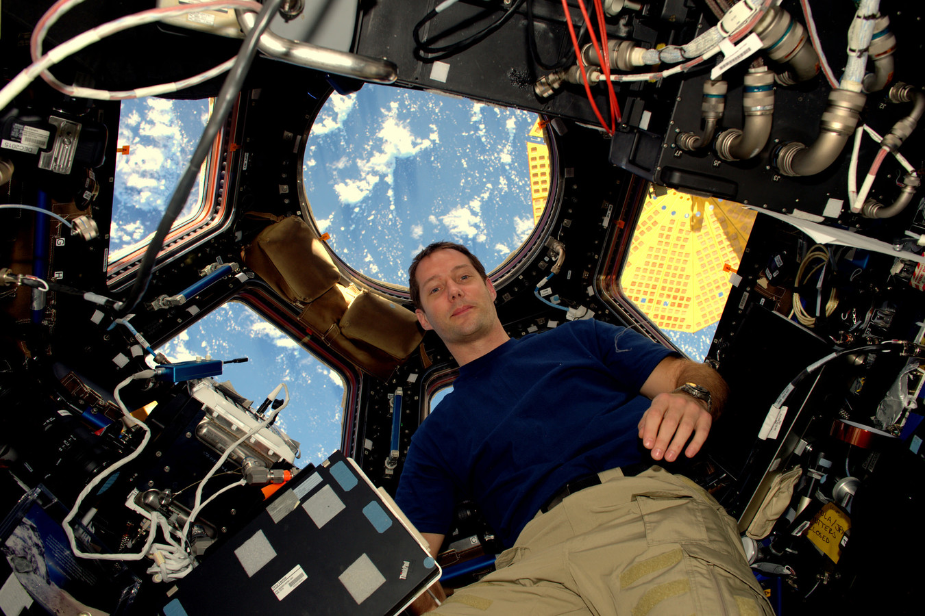 Thomas Pesquet à bord de l'ISS durant sa mission en 2016.