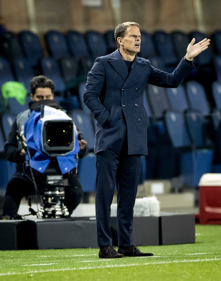 Bondscoach Frank de Boer tijdens de Nations League-wedstrijd tussen Italië en Nederland op 14 oktober in Bergamo, Italië.  Beeld ANP