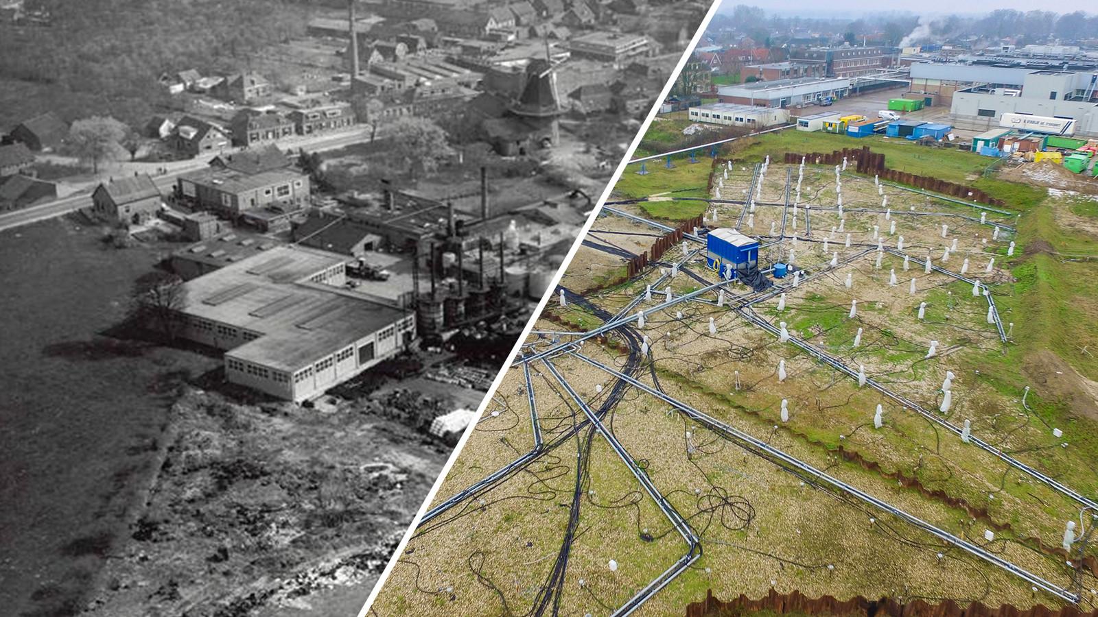 Het Olasfa-terrein, in de jaren zestig en recent.
