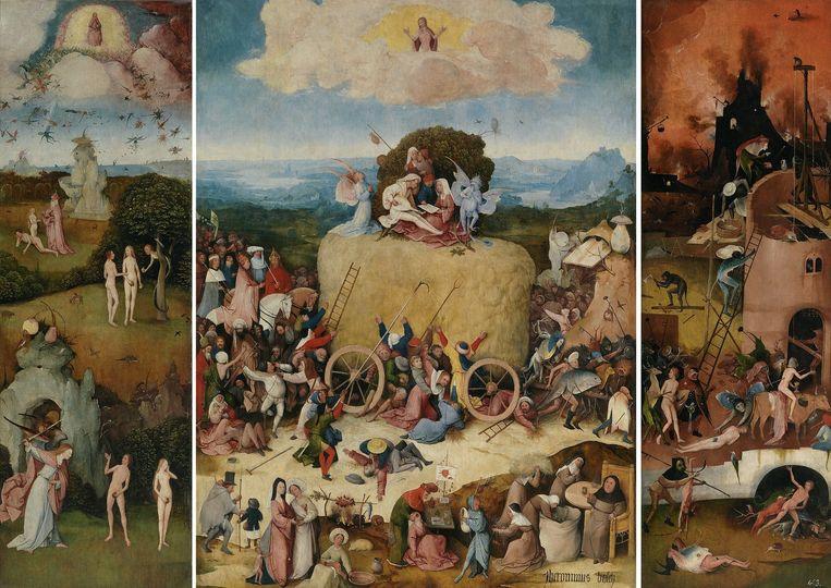 Jheronimus Bosch Het Hooiwagen-triptiek circa 1515, Olieverf op paneel, 133 x 100 cm (middenpaneel), 136 x 45 cm (zijpanelen) T/m 17 januari te zien op de tentoonstelling Van Bosch tot Bruegel in Museum Boijmans Van Beuningen in Rotterdam. Beeld null