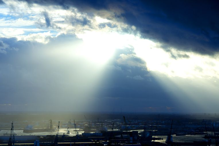 Foto van Rotterdam op 6 januari 2014, de warmste januaridag ooit gemeten. Beeld anp