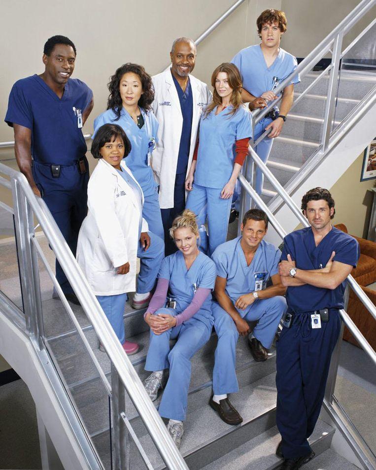 Grey's Anatomy Cast, hier nog met Isiah Washington en Katherine Heigl. Beeld ABC