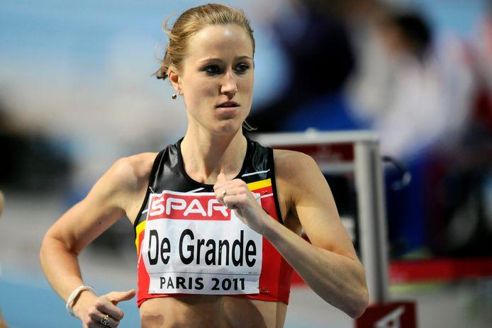 Lindsey De Grande op het EK indoor van Parijs in 2011.