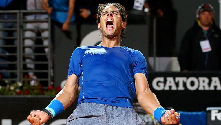 De ontlading bij Rafael Nadal na het winnende punt.