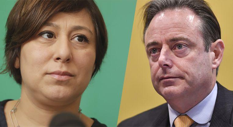 Groen-voorzitster Meyrem Almaci (l.) en N-VA-voorzitter Bart De Wever (r.) Beeld Belga