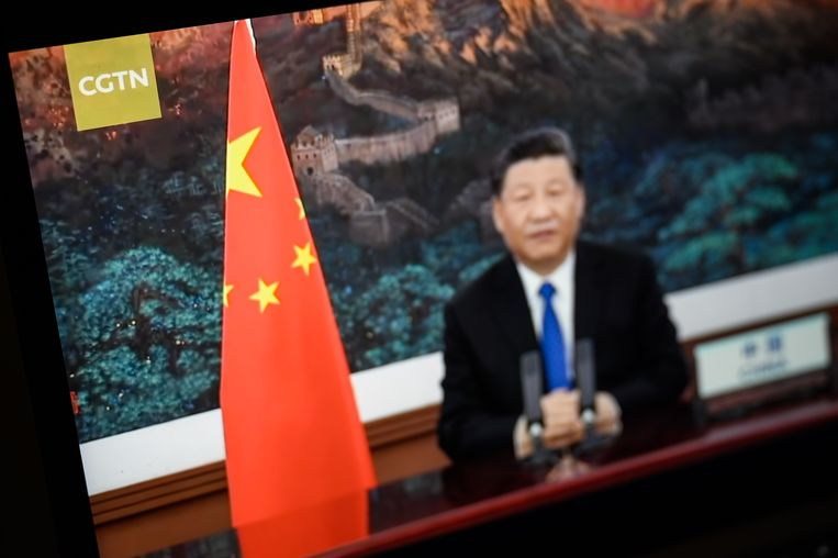 De Chinese president Xi Jinping in een programma op CGTN, de Engelstalige Chinese nieuwszender waar de Chinese communistische partij de baas is over de inhoud op de zender. Beeld Getty Images