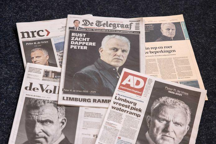 Halaman depan sejumlah surat kabar harian Belanda hari ini.