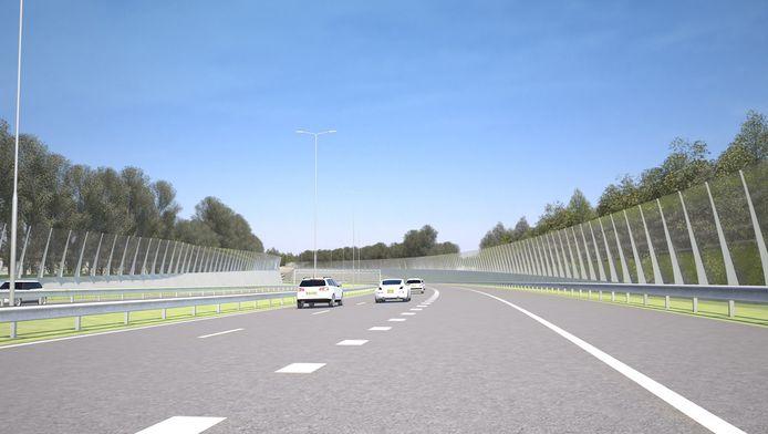 Door het gebruik van 'superstil' asfalt zouden de geluidsschermen langs de omstreden autoroute twee meter lager kunnen worden.