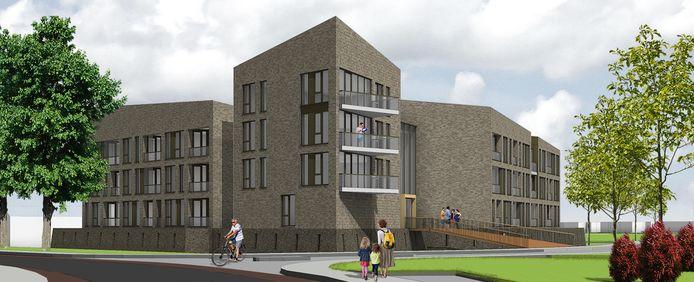 Een impressie van het nieuwe woningcomplex aan de Halve Maanweg in Doesburg.