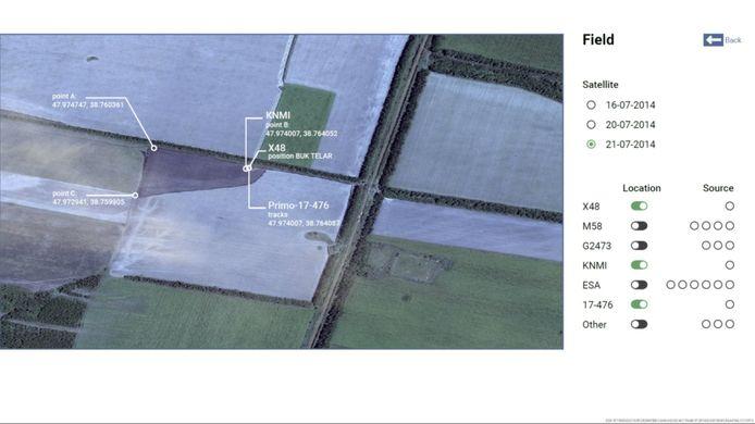 Een landbouwveld bij Pervomaiske waar volgens het OM de Bukraket die vlucht MH17 neerhaalde, is afgevuurd. Drie partijen wijzen op exact dezelfde positie in dat veld.
