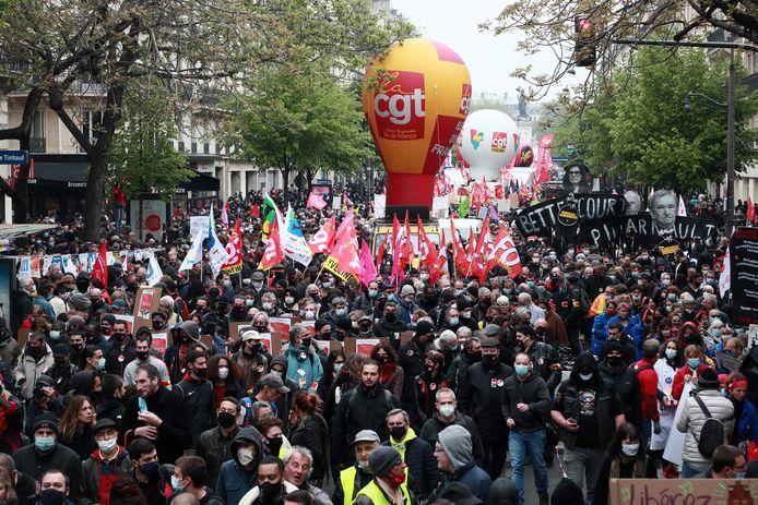 1 mei-protesten in Parijs, Frankrijk.