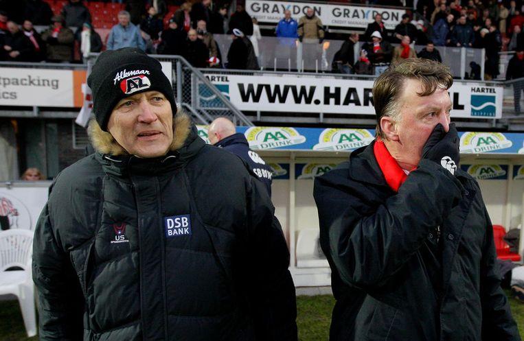 Dirk Scheringa als AZ-voorzitter met Louis van Gaal in 2009. Beeld anp