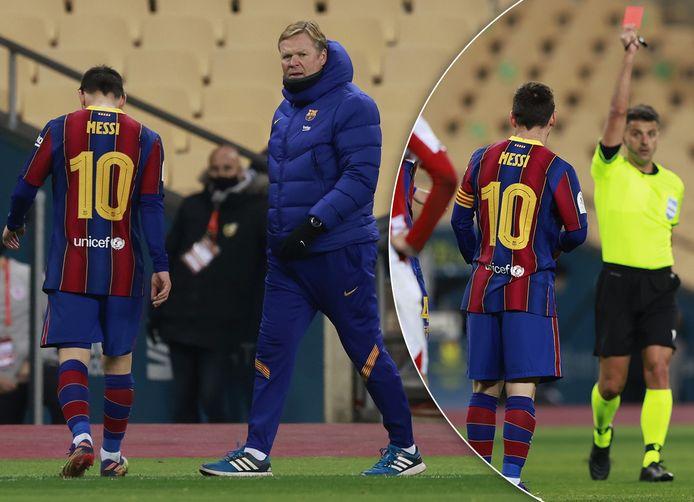 Ronald Koeman vangt Lionel Messi op na zijn rode kaart tegen Athletic.