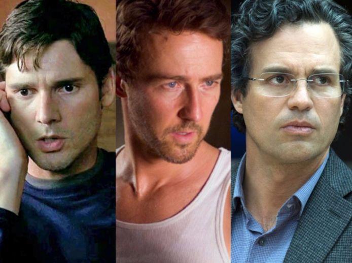 Eric Bana, Edward Norton, en Mark Ruffalo als Bruce Banner aka The Hulk.
