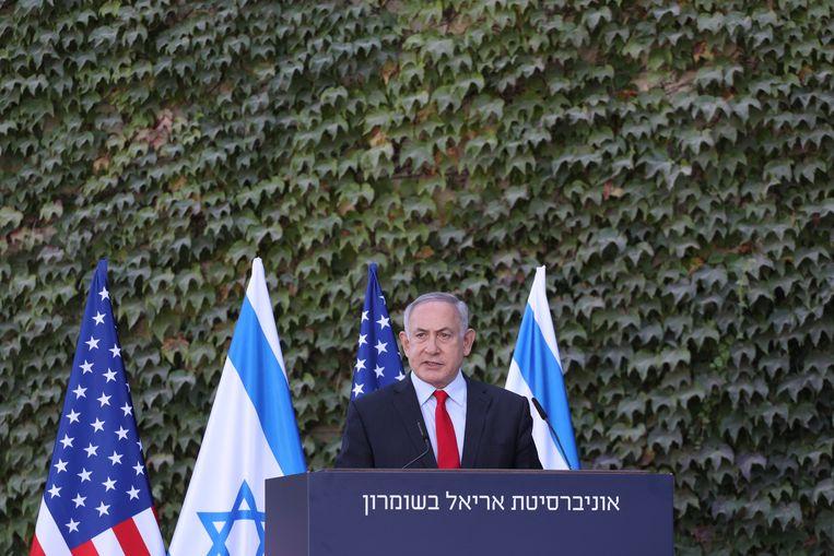 De Israëlische premier Benjamin Netanyahu. Trumps beslissing om de VS-ambassade te verhuizen van Tel Aviv naar Jeruzalem maakte hem er erg populair maar zorgde voor een desillusie bij de Palestijnen. Beeld EPA