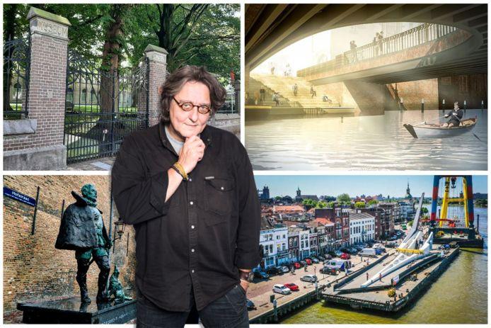 Kees Thies over de omstreden projecten van Dordrecht. Van links naar rechts: de museummuur, de Visbrug, Willem van Oranje en de Prins Clausbrug.