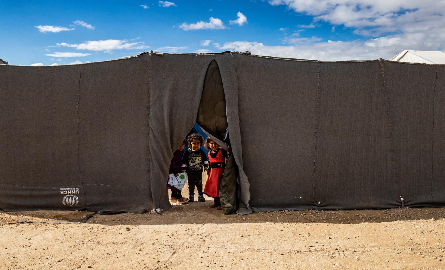Kinderen in het Koerdische vluchtelingenkamp al-Hol.
