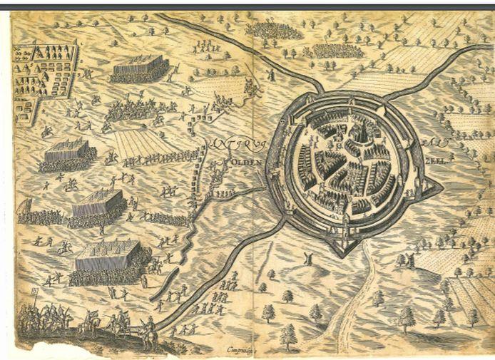 Kaart van de inname van Oldenzaal in 1605, door Ambrogio Spinola.