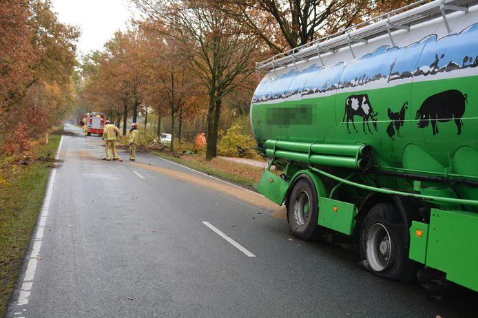 Vrachtwagen raakt van de weg en rijdt tegen boom in Heeze.