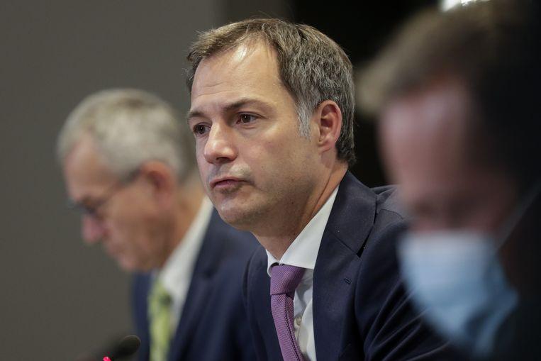 Premier Alexander De Croo op de persconferentie na het Overlegcomité van vorige vrijdag. Beeld EPA