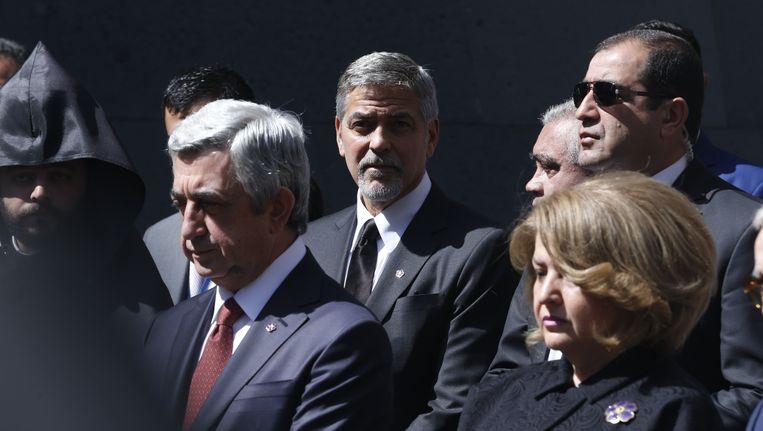 George Clooney woonde eerder een herdenkingsplechtigheid bij voor de slachtoffers van de Armeense genocide. Beeld Photo News