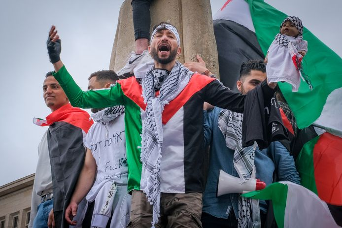 De pro-Palestijnse betoging in Brussel.