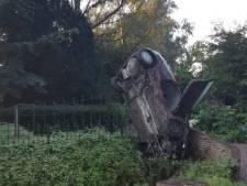 Rhenenaar belandt met auto verticaal in de sloot