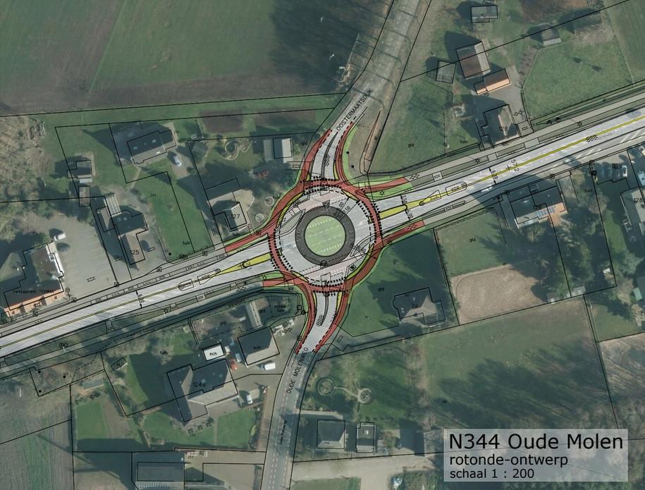 Het ontwerp voor een rotonde bij Oude Molen op de N344 tussen Deventer en Holten. foto Provincie Overijssel