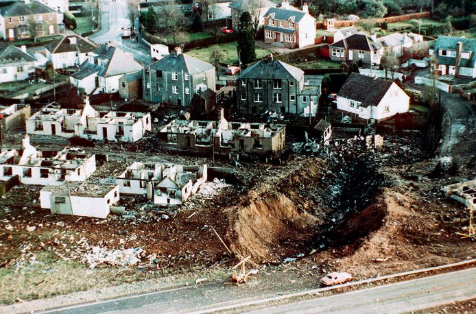 Archiefbeelden van het Schotse dorpje Lockerbie na de ramp.