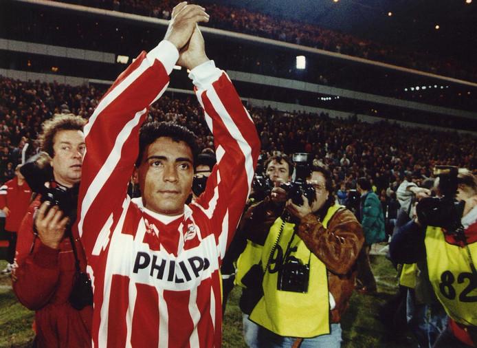 Romário maakte in 1992 het eerste doelpunt van PSV in de Champions League, thuis tegen AEK Athene.