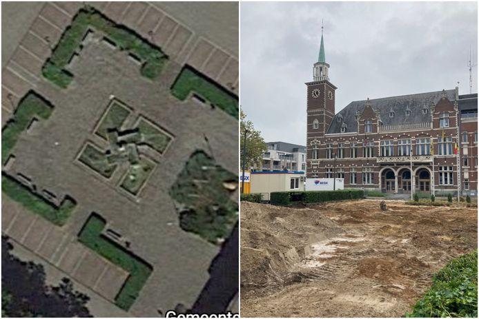 De 'beruchte' fontein, die vanuit de lucht gezien op een swastika gelijkt, is inmiddels verleden tijd.