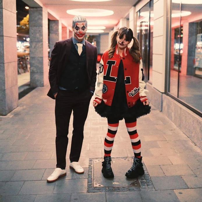 Robert Lewandowski en zijn vrouw tijdens Halloween.