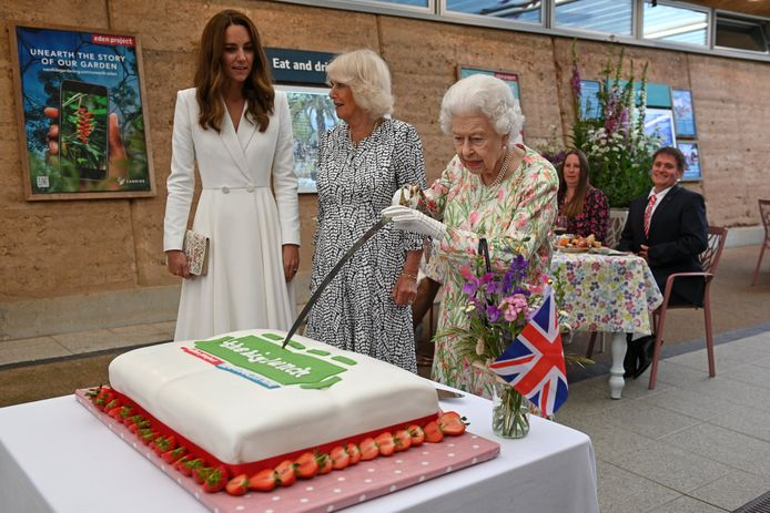 Queen Elizabeth II, hertogin Camilla en Kate Middleton