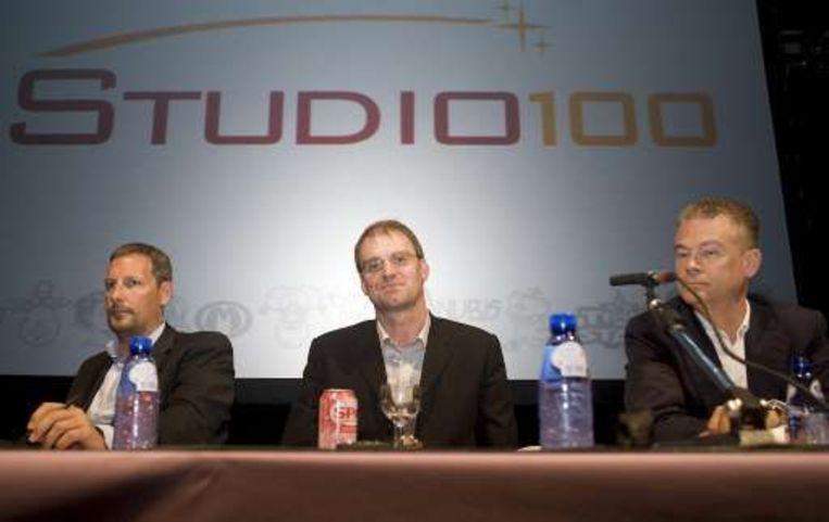 Gert Verhulst en Hans Bourlon van Studio 100 naast Patrick Elmendorff (EM.Entertainment) Beeld UNKNOWN