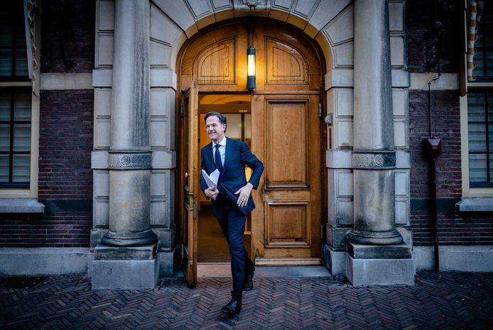 Mark Rutte (VVD) vandaag op het Binnenhof voor een tweede gesprek met informateur Herman Tjeenk Willink.