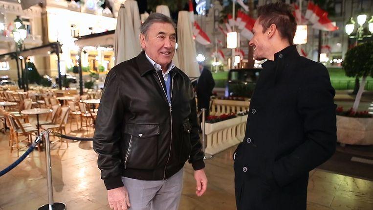 Philippe Gilbert meets Eddy Merckx aan het casino van Monte Carlo