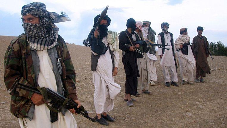 Talibanstrijders bij Maydan Shahr, gefotografeerd in 2008. Beeld AFP