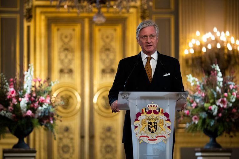 Koning Filip tijdens de nieuwjaarsreceptie voor de overheden van het land. Beeld AP