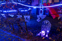 De Bretagnesingel in Heteren. Een van de meer dan vijftig adressen waar de tuin en gevel in Halloweensfeer is omgetoverd.