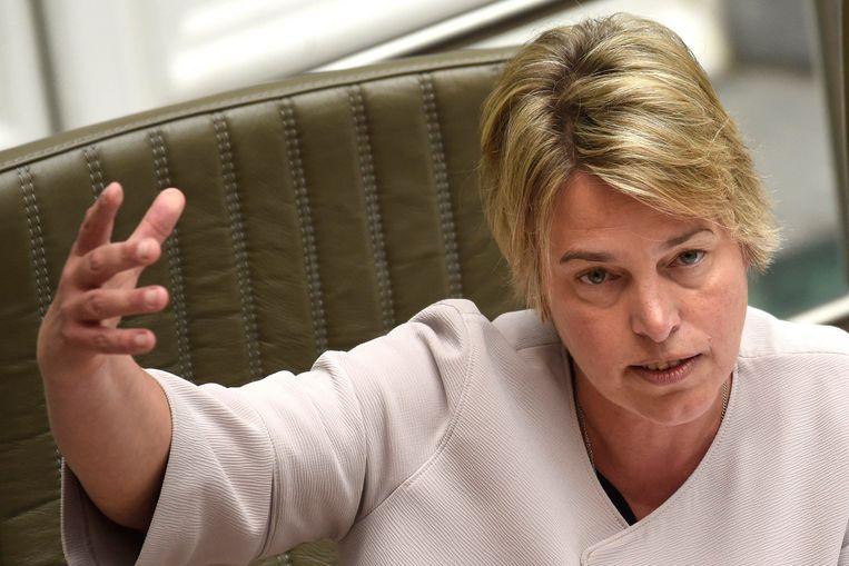 Vlaams minister Joke Schauvliege (CD&V) legt vrijdag haar plan rond de bestrijding van zwerfvuil op de regeringstafel. Beeld Photo News