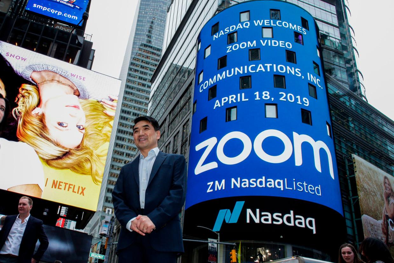 Zoom-topman Eric Yuan geniet van een explosieve beurswaardering om de toekomst voor te bereiden. Beeld AFP