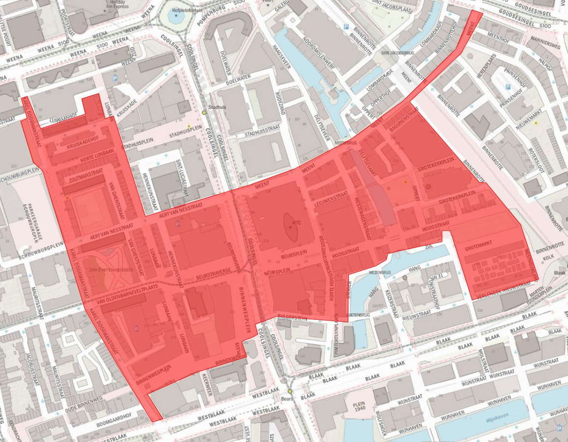 Gebied in Rotterdam waar mondkapjes verplicht worden.