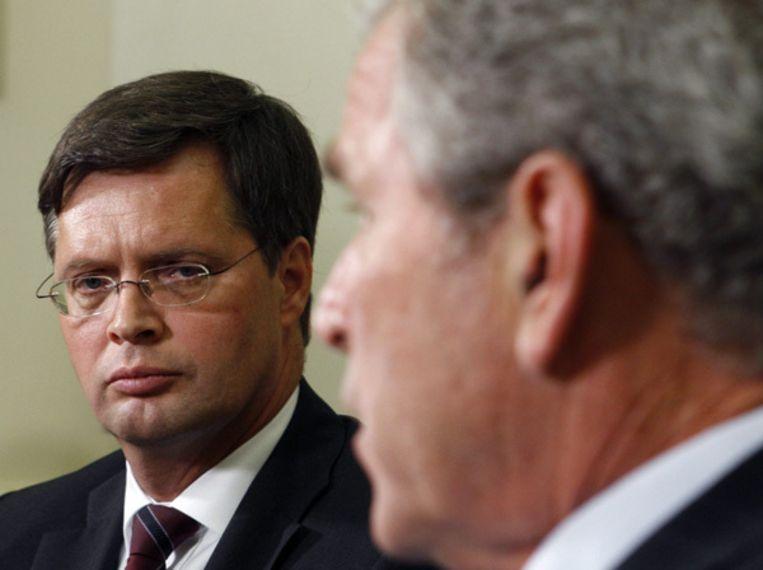 Balkenende wilde tijdens zijn bezoek aan de VS geen balans opmaken van het bewind van Bush. Foto AP Beeld