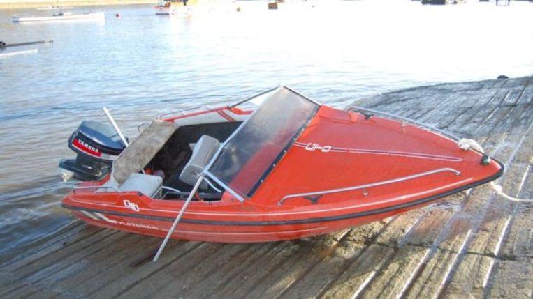 De speedboot waarmee het dodelijke ongeval gebeurde.