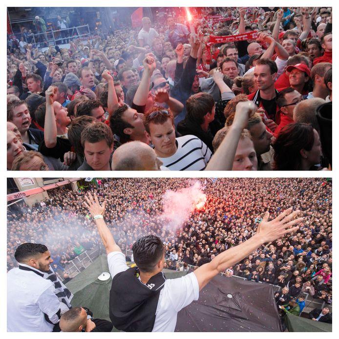 Boven: Een kolkende massa FC Twente-fans op de Oude Markt in Enschede viert urenlang feest. Onder: 2016: Op het dak van  McDonalds in Almelo vierden de spelers van Heracles de winst in de play-offs met de fans.